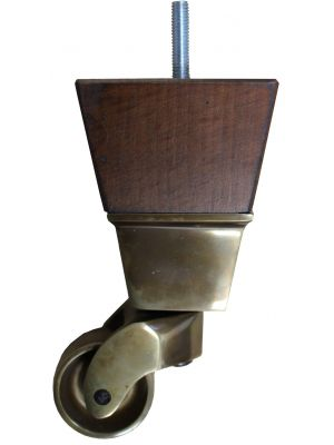 Althea Antique Square Wooden Furniture Legs with Extra Large Antique Brass Castors