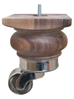 Beccy Solid Walnut Furniture Legs with Chrome Rope Castor