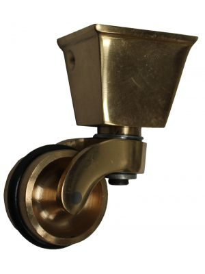 Brass Castor Square Cup with Rubber Tyre - 32mm