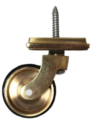 Brass Screw Castor with Rubber Tyre and square embellisher 38mm