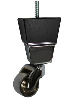 Lucinda Black Square Wooden Furniture Legs with Extra Large Chrome Castors